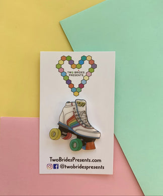 Rainbow Retro Rollerskates Lapel Pin