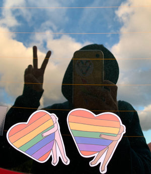 Set of 2 Rainbow Heart Hugs Stickers ~ Shuturp X TBP Collab.
