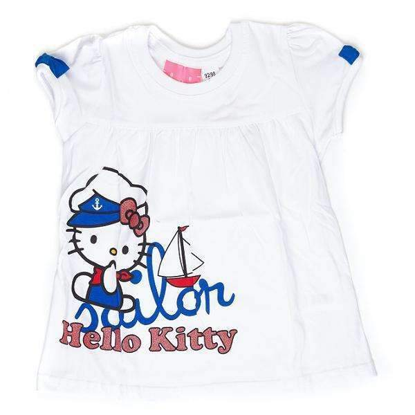 Tricou Hello Kitty fete 2-9 ani Hello Kitty Alb / 2-3 ani | 92-98 cm Tricou Hello Kitty fete 2-9 ani