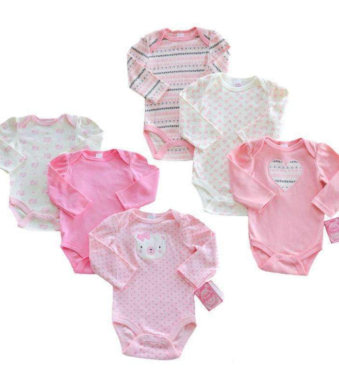 Set 3 body bumbac maneca lunga roz bebe