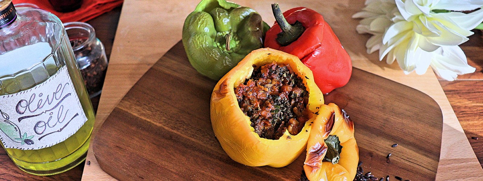 Black Rice and Marinara Stuffed Bellpeppers