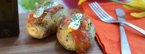 Microwave Baked Potato With Chunky Tomato Sauce