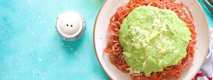 Beetroot Spaghetti With Creamy Peas