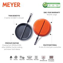 Meyer Non-Stick 30cm Divided Grillpan/Twin Pan/Breakfast Pan/Multi-Snack Pan - Pots and Pans