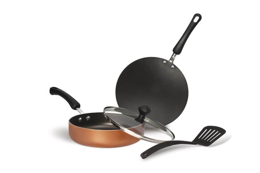 Meyer Non-Stick 4pcs Cookware Set (Sautepan + Curved Roti/Chappati Tawa + Nylon Turner) - Pots and Pans
