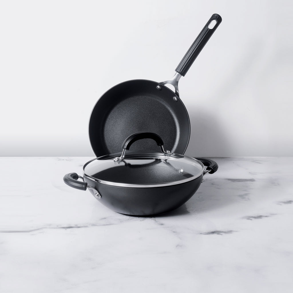 Circulon Origins Non-Stick+Hard Anodized 3 piece 24cm Frypan + 24cm Kadai, Cookware Set - Pots and Pans