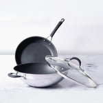 Circulon Momentum 3 Piece Set - 27cm Kadai with Lid + Open Frypan 25cm - Pots and Pans