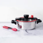 "Meyer 2 Piece Set - Stainless Steel 4L Quicker Cooking Casserole + 9"" Silicone Tongs"