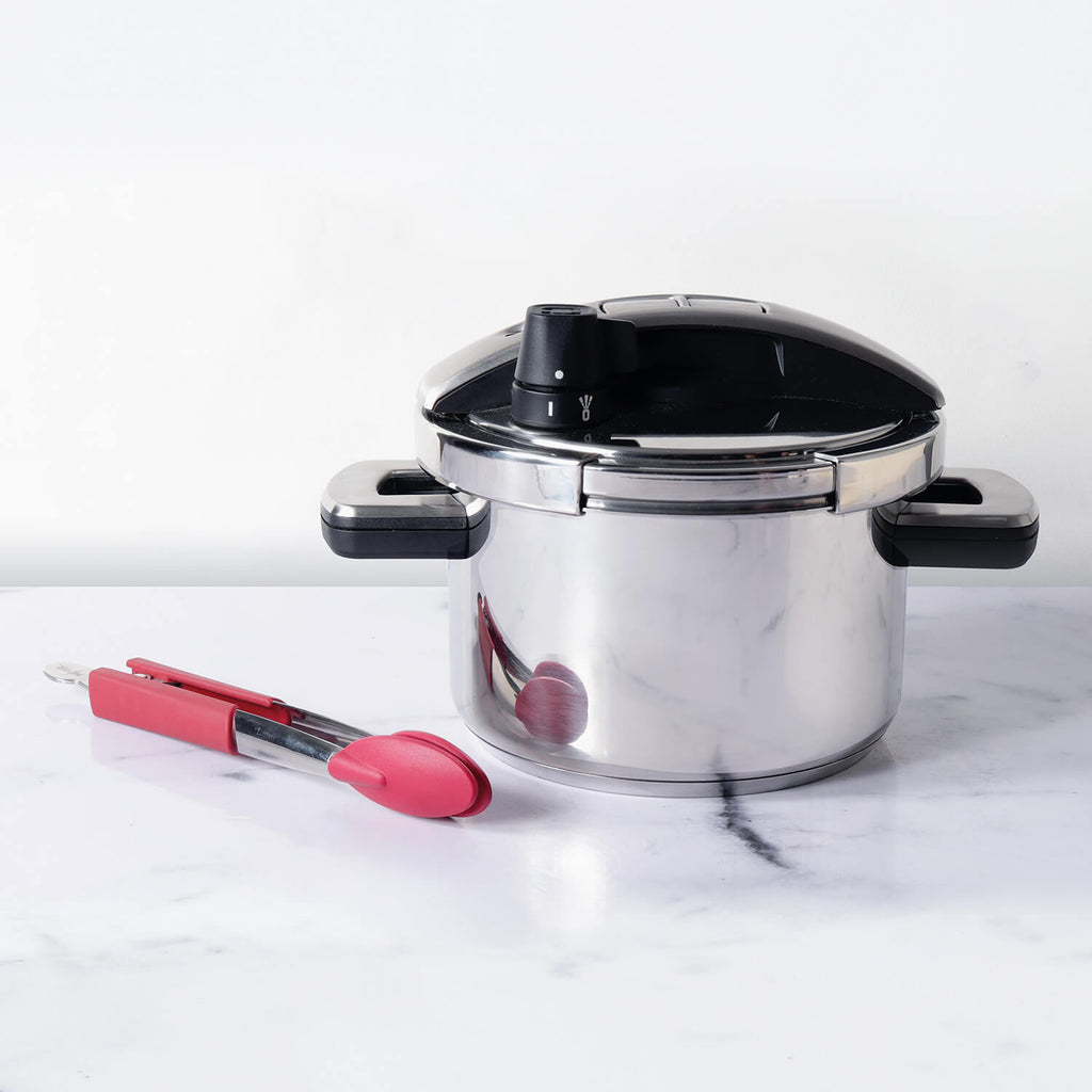 "Meyer 2 Piece Set - Stainless Steel 4L 'Single Hand' High Pressure Cooker + 12"" Silicone Tongs - Pots and Pans"