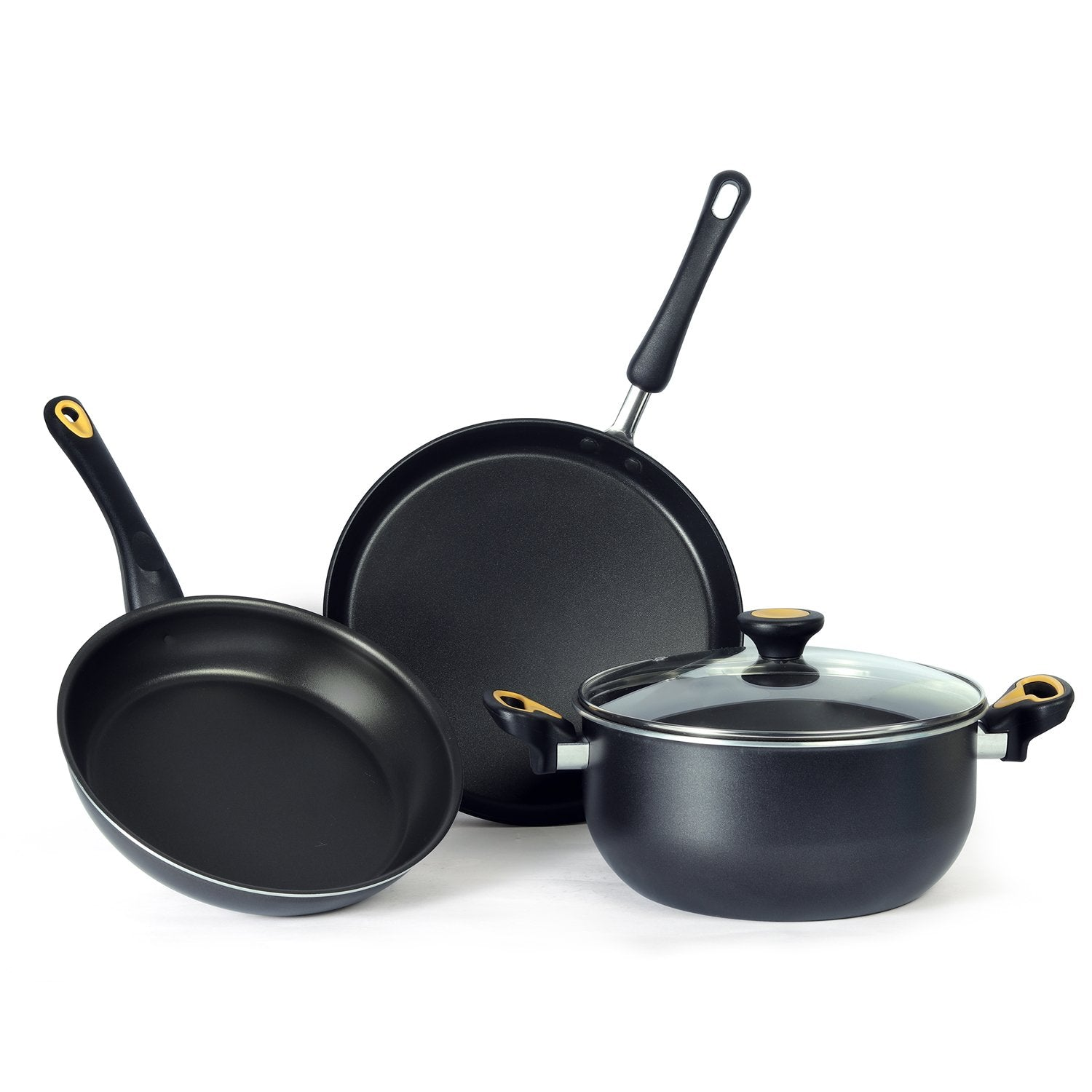 Meyer Non-Stick 4pcs Cookware Set (24cm Casserole + 24cm Frypan + 28cm Flat Tawa) - Pots and Pans
