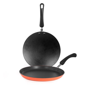 Meyer Non-Stick 2-Piece Tawa Set (Flat and Curved Tawa), Orange - Pots and Pans