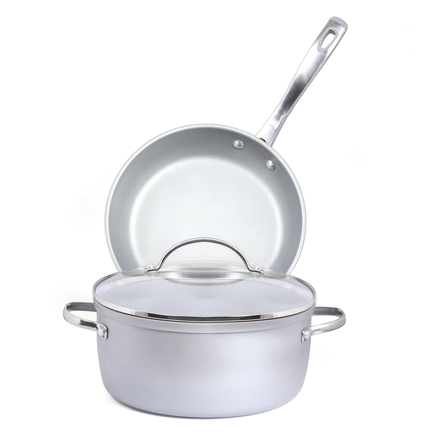 Meyer Prism Non-Stick 3pcs Interchangeable Lid Cookware Set (24cm Casserole + 24cm Frypan) - PotsandPans