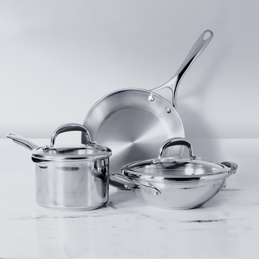 Meyer Select Stainless Steel 5-Piece Cookware Set (Gas and Induction Compatible) - Pots and Pans