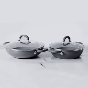 Meyer Anzen 4pcs Set - 26cm Wok/Kadai with Lid + 30cm Wok/Kadai with Lid - Pots and Pans