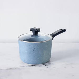 Meyer Forgestone Non-Stick Saucepan 18cm, Stone Grey [Induction & Gas Compatible] - Pots and Pans