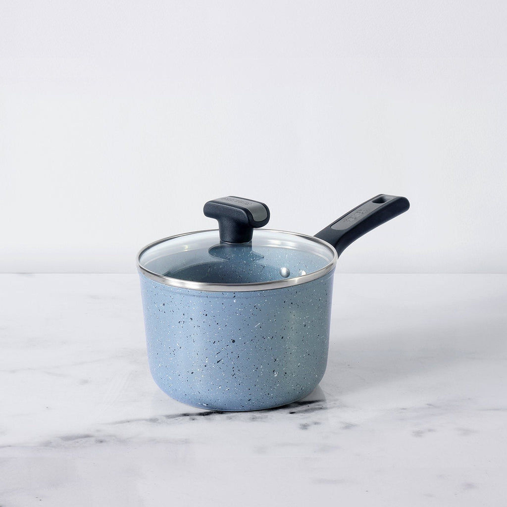 Forgestone Non-Stick Saucepan 16cm, Stone Grey [Induction & Gas Compatible] - Pots and Pans