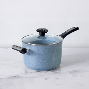 Forgestone Non-Stick Saucepan 20cm, Stone Grey [Induction & Gas Compatible] - Pots and Pans