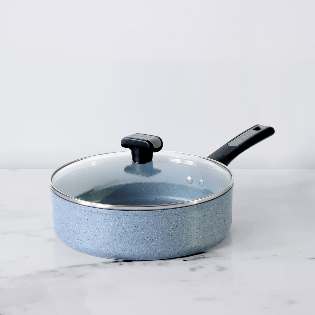 Meyer Forgestone Non-Stick Sautepan 24cm, Stone Grey [Induction & Gas Compatible] - Pots and Pans