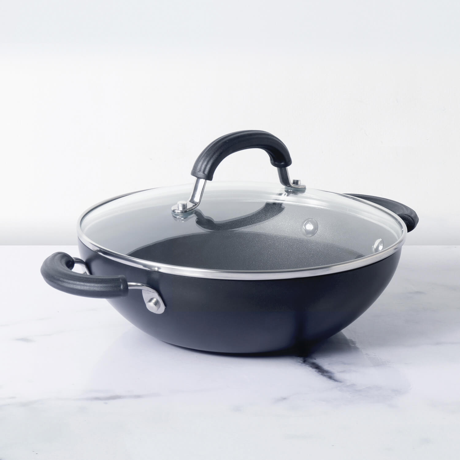 Circulon Origins 26cm Non-Stick + Hard Anodized Kadai/Wok with Lid - Pots and Pans