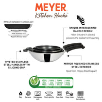 Meyer Kitchen Hacks (Stainless Steel + Non Stick) 3 Piece Open Stirfry/Kadai with Stick Handle Set, (22 cm / 26 cm/ 30 cm) - Pots and Pans