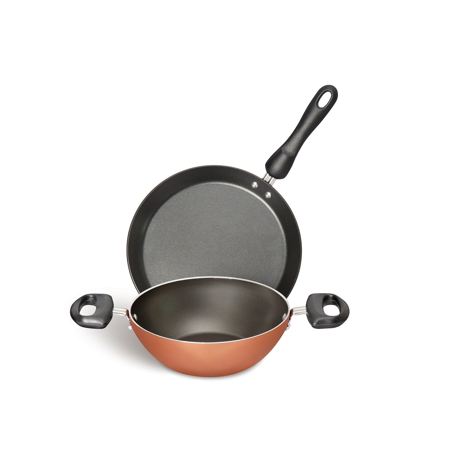 Meyer Non-Stick 2-Piece Cookware Set, Kadai + Flat Dosa Tawa (Suitable For Gas & Electric Cooktops) - Pots and Pans