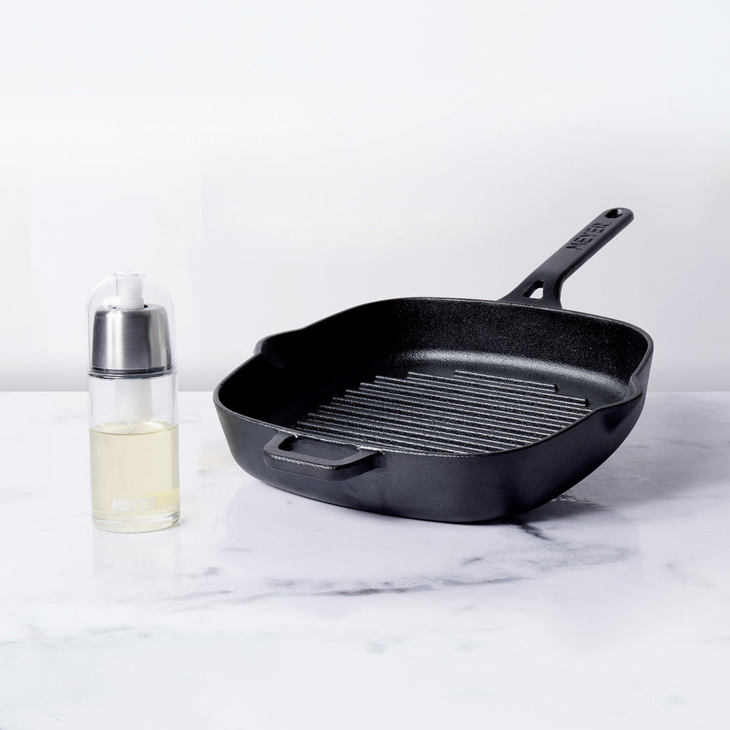 Meyer Pre-Seasoned Cast Iron Grill Pan and Oil Sprayer Set - Pots and Pans