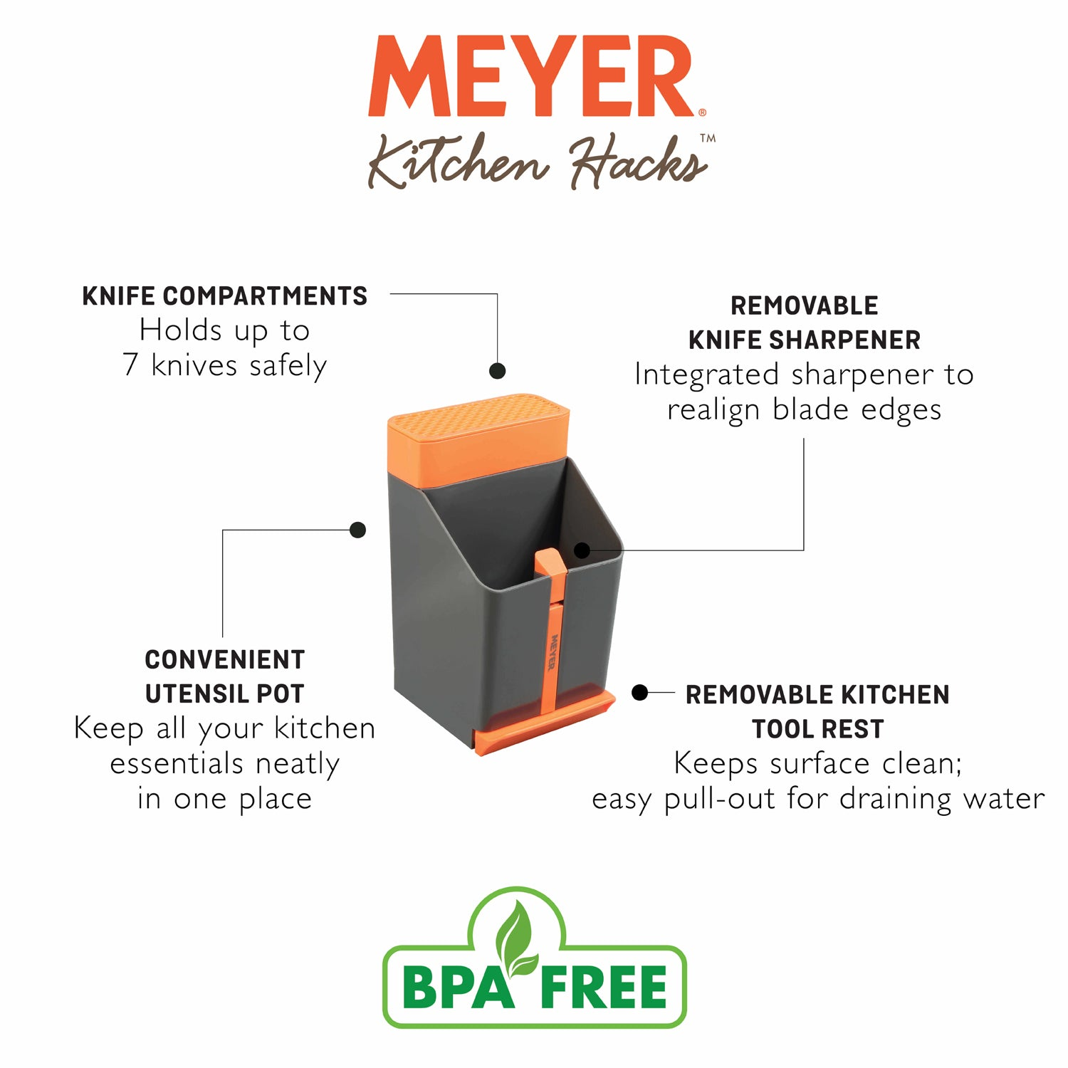Meyer Kitchen Hacks Knife & Utensil Station - Pots and Pans