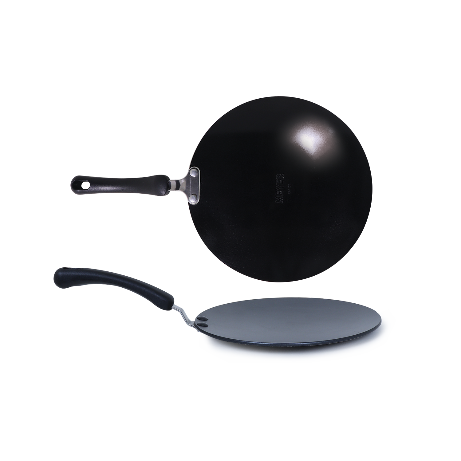 Meyer Non-Stick 2-Piece Tawa Set (Flat and Curved Tawa), Black - PotsandPans