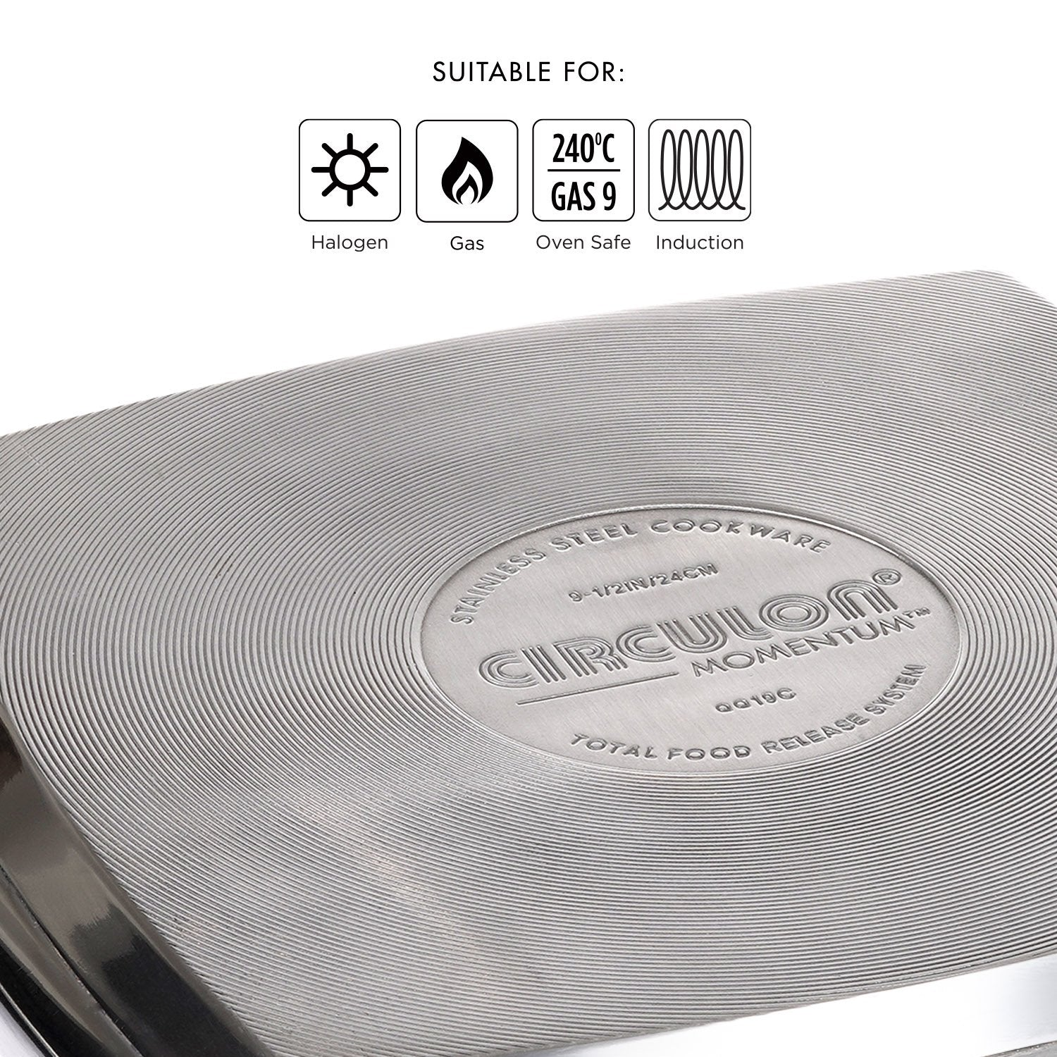 Circulon Momentum Non-Stick + Stainless Steel Grill pan, 24cm - Pots and Pans