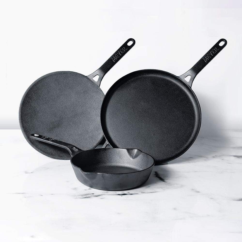 Meyer Pre-Seasoned Cast Iron 3 Piece Cookware Set - 28cm Flat Dosa Tawa + 20cm Frypan + 26cm Curved Roti Tawa - Pots and Pans