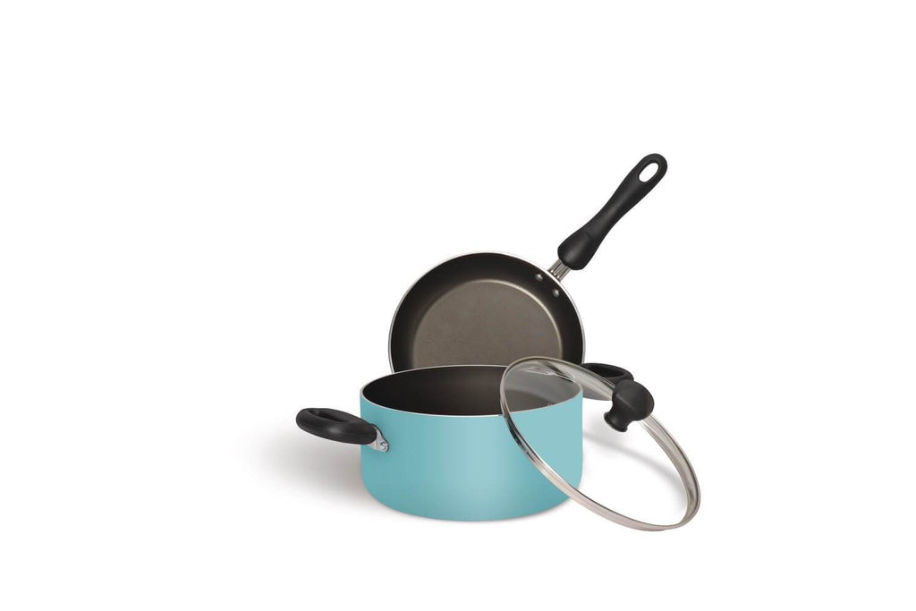 Meyer Non-Stick 3-Piece Cookware Set, Casserole + Frypan (Suitable For Gas & Electric Cooktops) - Pots and Pans