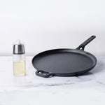 Meyer 2pcs Set - 28cm Cast Iron Flat Tawa + Oil Sprayer - Pots and Pans