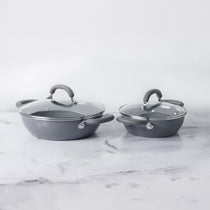 Meyer Anzen 4pcs Set - 20cm Wok/Kadai with Lid + 26cm Wok/Kadai with Lid - Pots and Pans