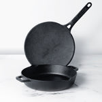 Meyer Pre Seasoned Cast Iron 2pcs Set (24cm Frypan/Skillet + 26cm Curved Roti Tawa) - Pots and Pans