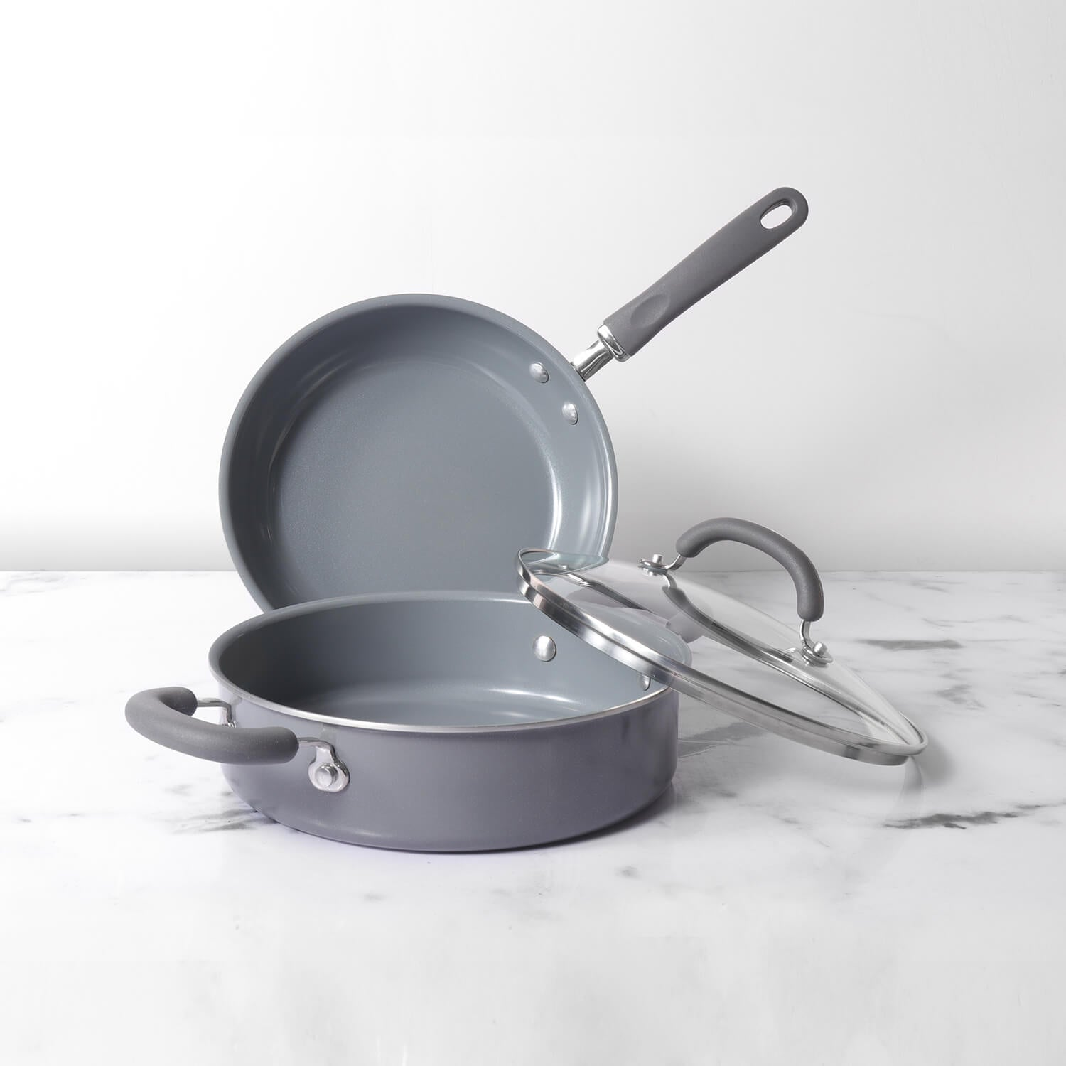 Meyer Anzen 3pcs Set - Open Frypan + Sauteuse with Interchangeable Lid, 24cm - Pots and Pans