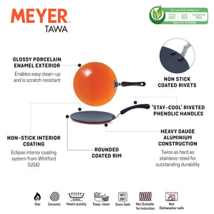 Meyer Premium Non-Stick Curved Roti Tawa, 26cm, Orange (5mm thick) - Pots and Pans