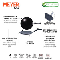 Meyer Premium Non-Stick Curved Roti Tawa, 26cm, Black (4mm thick) - Pots and Pans