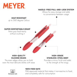 Meyer 2-Piece Crimson Silicone Tongs Set With Stainless Steel Body (23cm & 30cm) - Pots and Pans