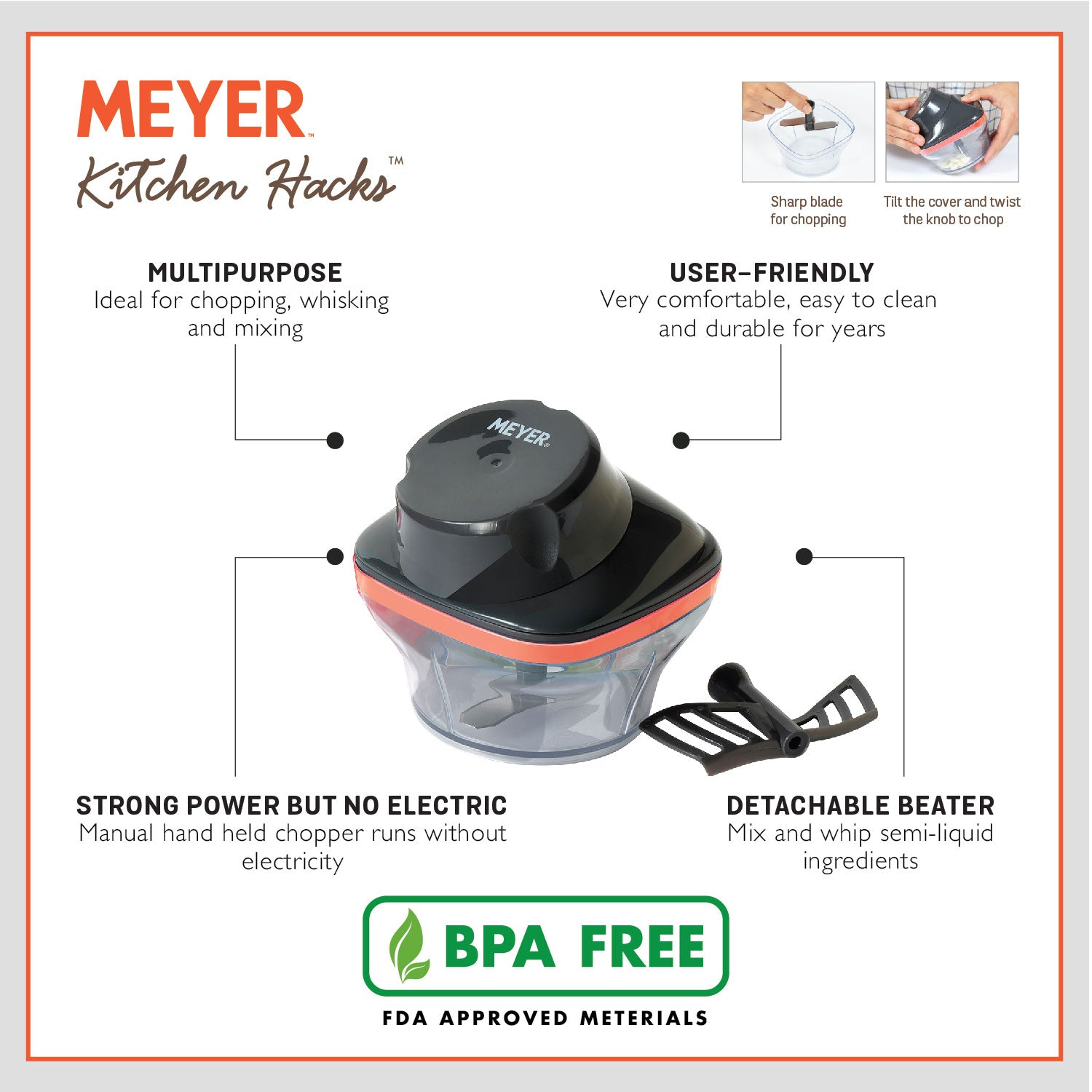 Meyer Kitchen Hacks Compact Chopper, 250ml - Pots and Pans