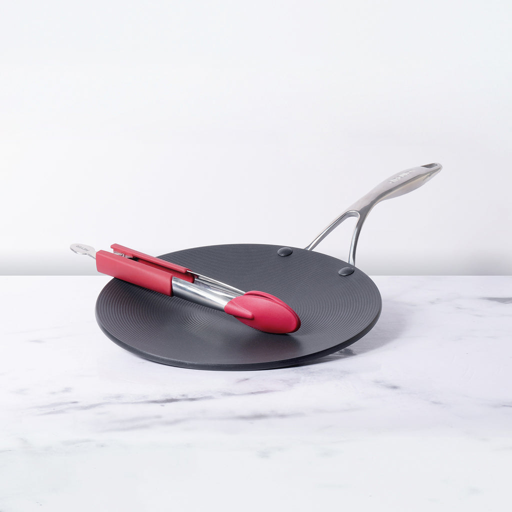 "Circulon 2 Piece Set - Circulon Non-Stick + Hard Anodized Curved Tawa + 12"" Tongs"
