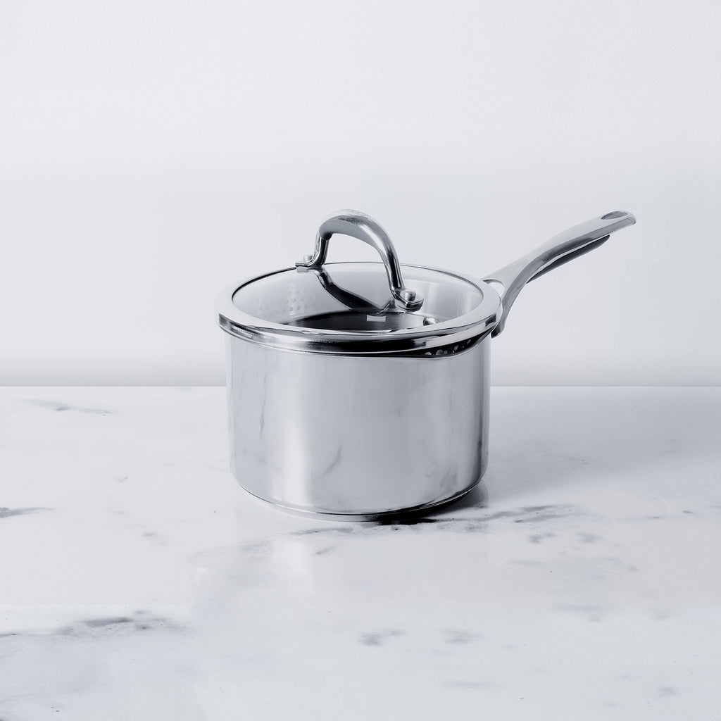 Meyer Select Stainless Steel Straining Saucepan 18cm (Induction & Gas Compatible) - Pots and Pans