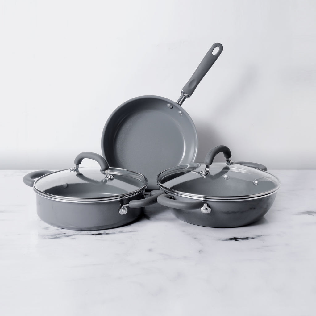 Meyer Anzen 5pcs Set - 24cm Frypan + 24cm Sauteuse with Interchangeable Lid + 26cm Kadai with Lid - Pots and Pans