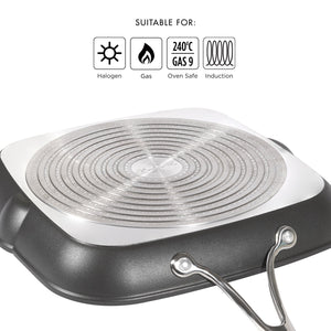 Circulon Non-Stick + Hard Anodized Aluminium Open Square Griddle Pan, 28cm - Pots and Pans