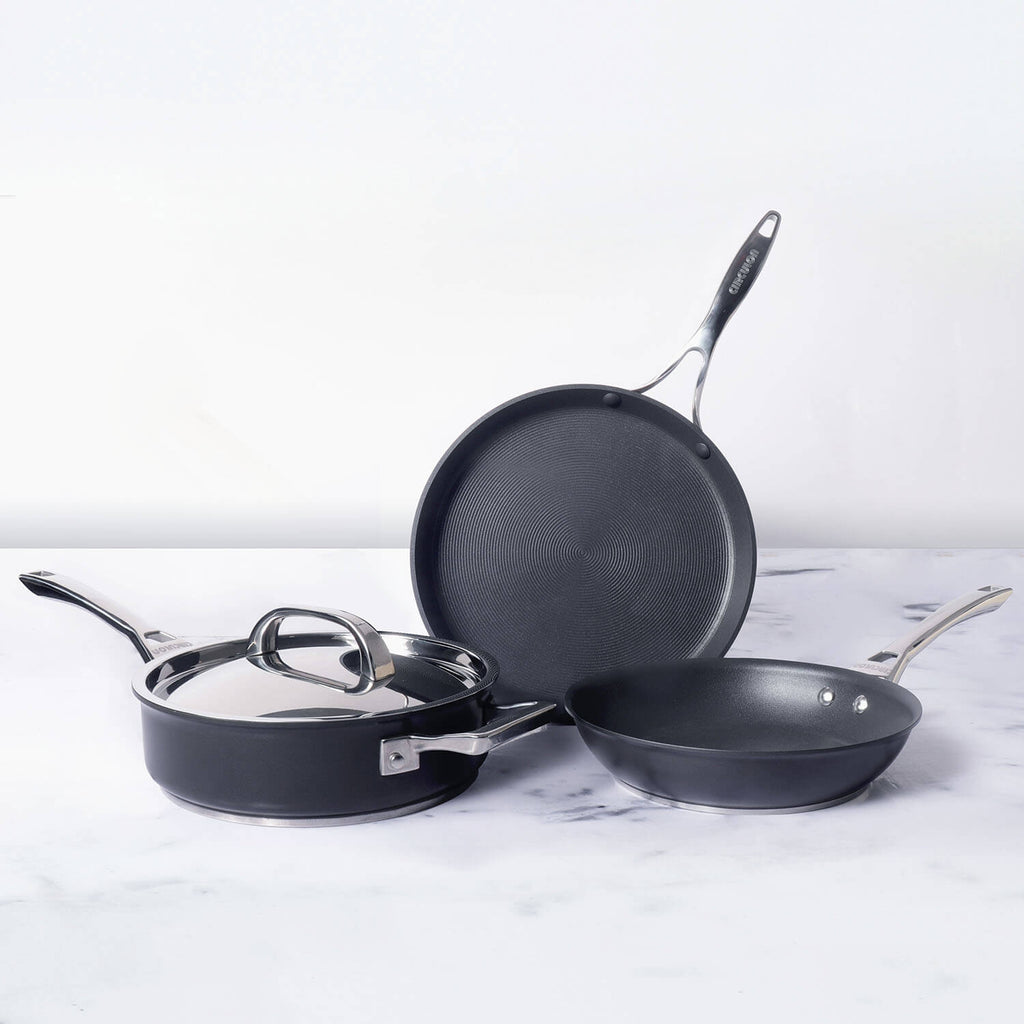 Circulon Infinite Non-Stick + Hard-Anodized Cookware Set (28cm flat dosa tawa, 20cm skillet, 24cm saute pan) - Pots and Pans