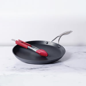 "Circulon 2 Piece Set - Circulon Non-Stick + Hard Anodized Flat Dosa Tawa (28 cm) + 12"" Tongs - Pots and Pans"