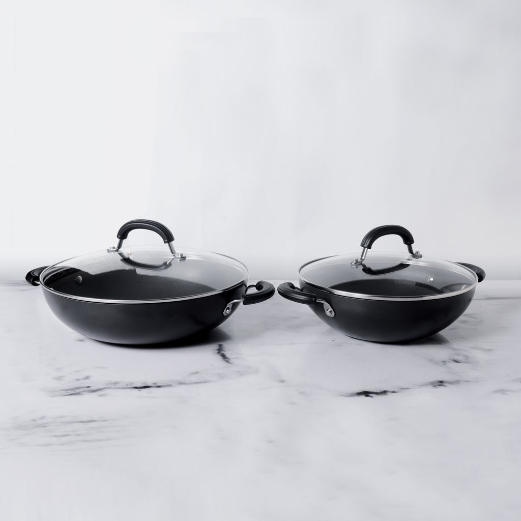 Circulon Origins 4pcs Non-Stick + Hard Anodized 20cm + 24cm Kadai Set with Lids - Pots and Pans