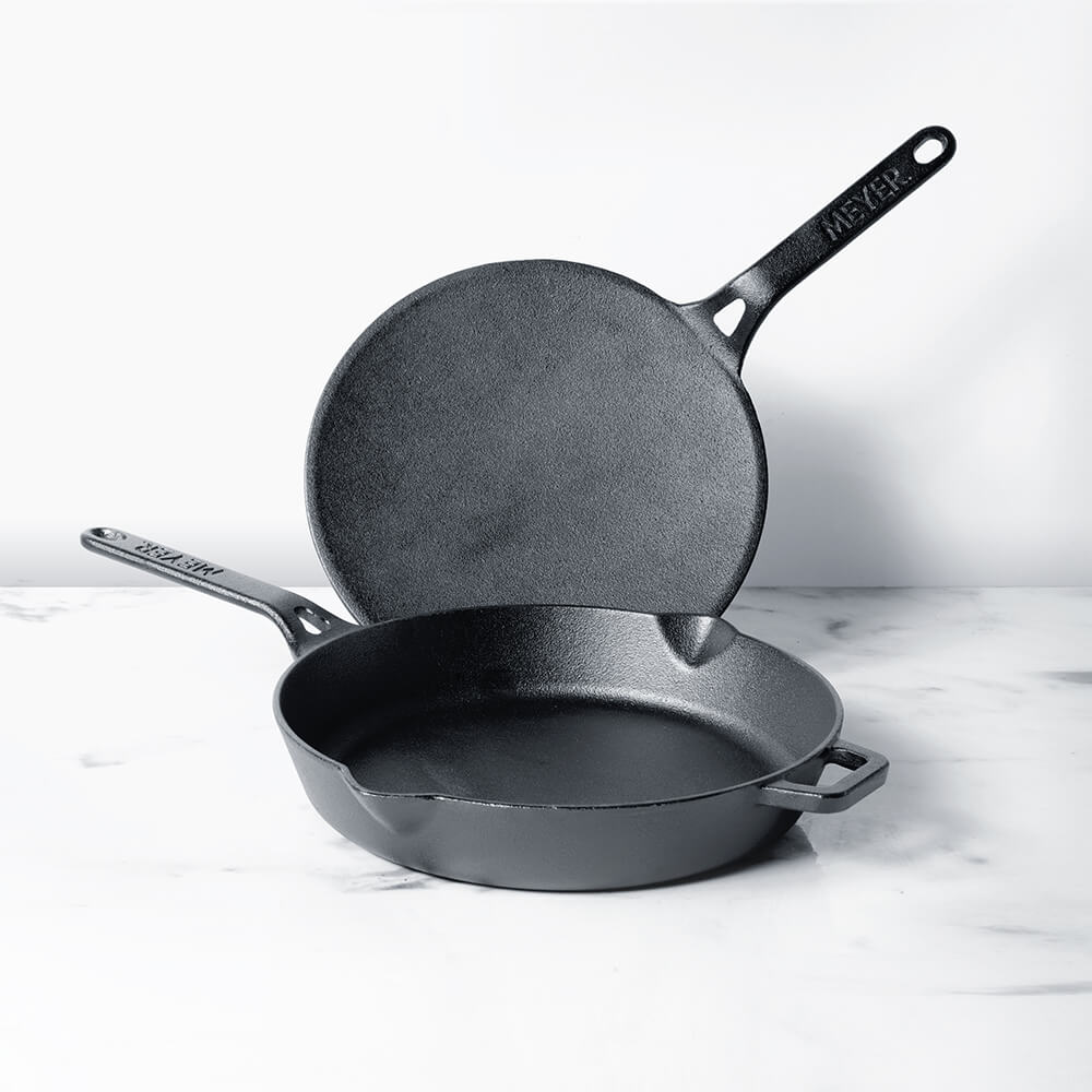 Meyer Pre Seasoned Cast Iron 2 Piece Set Cookware Set- 26cm Curved Roti Tawa + 26cm Frypan - Pots and Pans
