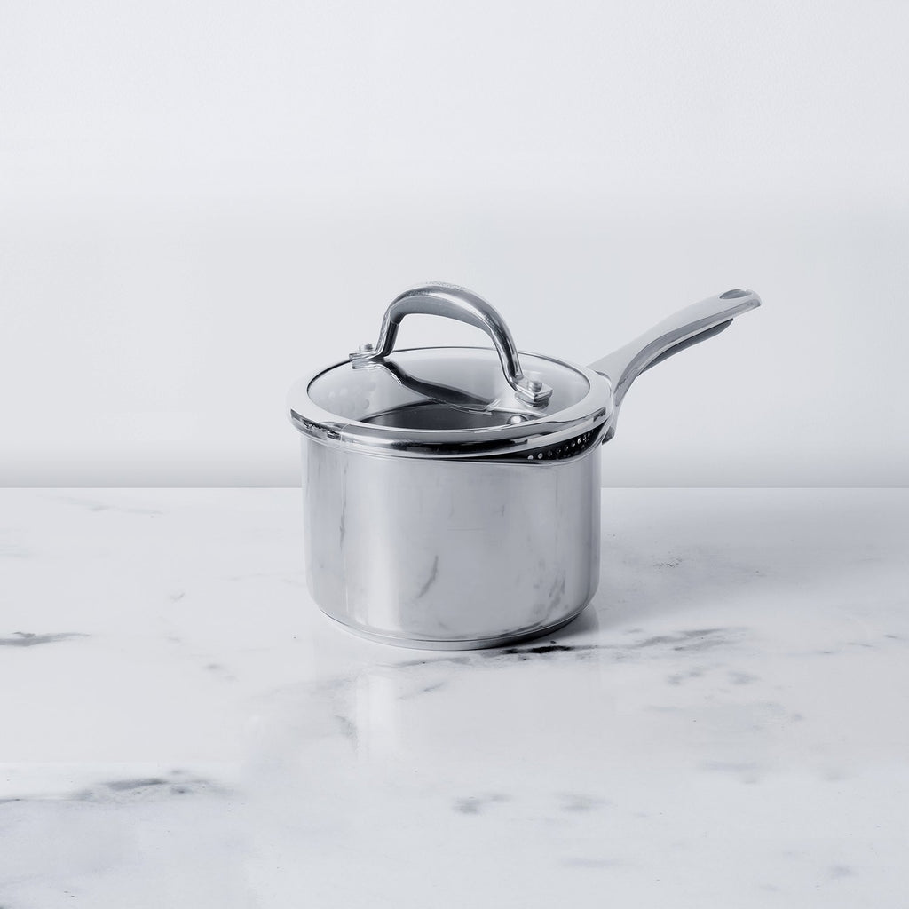 Meyer Select Stainless Steel Straining Saucepan 16cm (Induction & Gas Compatible) - Pots and Pans