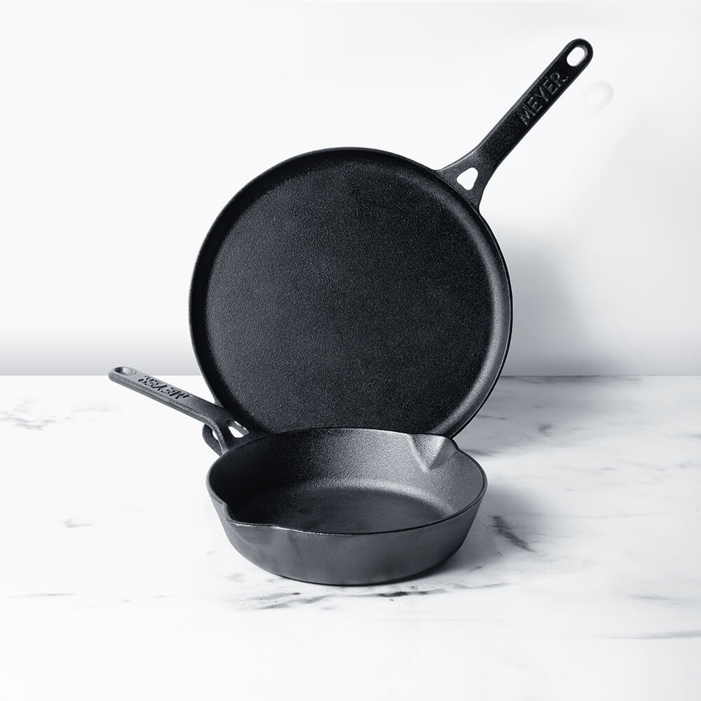 Meyer Pre-Seasoned Cast Iron 2pcs Set (20cm Frypan/Skillet + 28cm Flat Dosa Tawa) - Pots and Pans