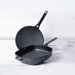 Meyer Cast Iron 2-Piece Set - Grill pan + Curved Roti Tawa - Pots and Pans